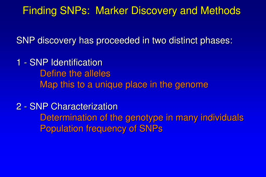 Finding SNPs:  Marker Discovery and Methods
