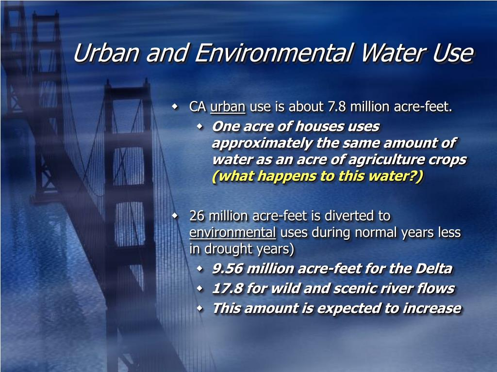 Urban and Environmental Water Use