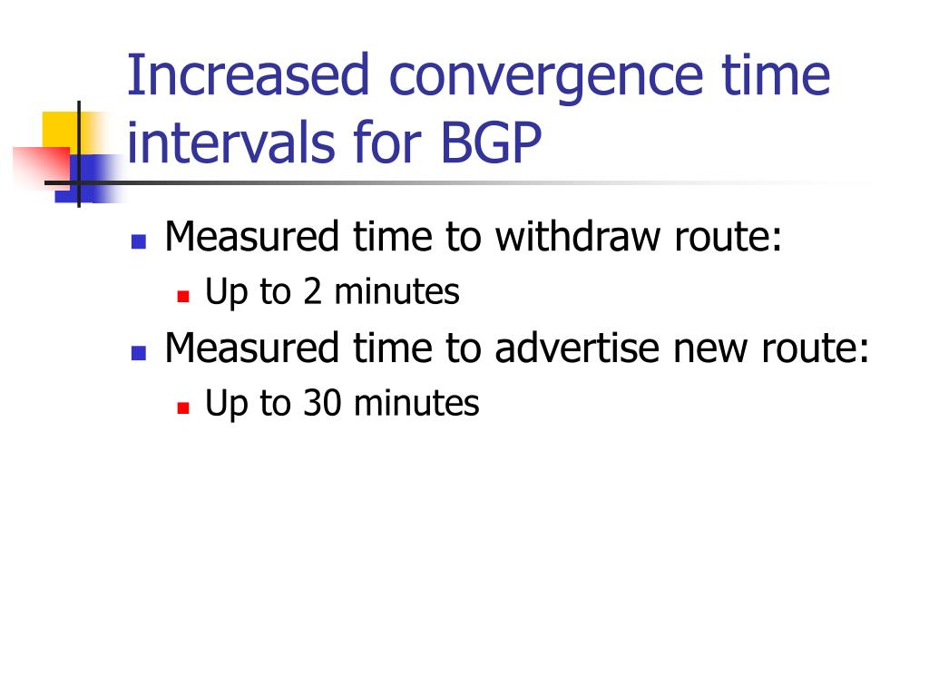 Increased convergence time intervals for BGP