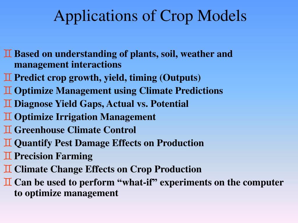 Applications of Crop Models