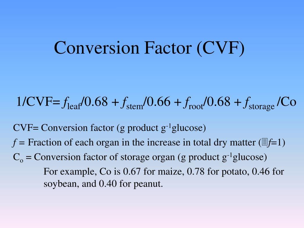 Conversion Factor (CVF)