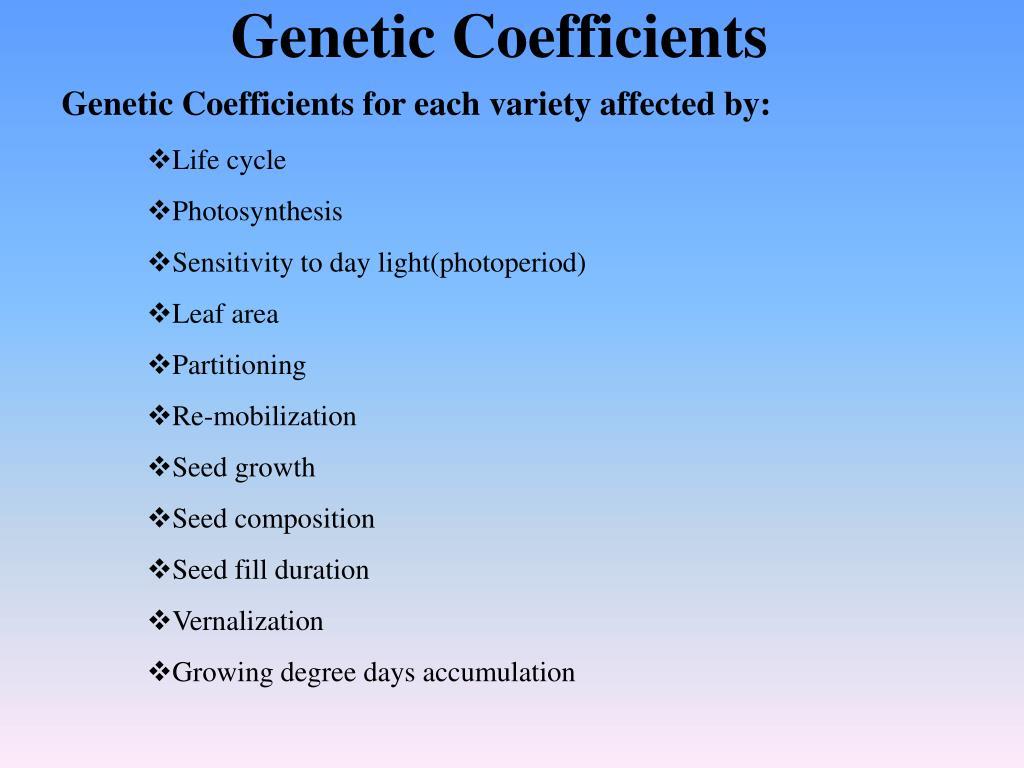 Genetic Coefficients