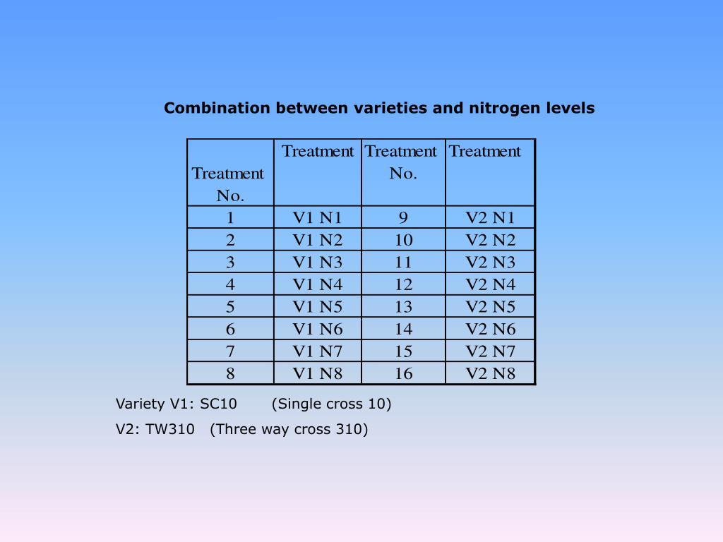 Combination between varieties and nitrogen levels