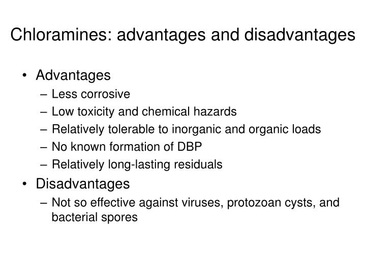 Chloramines: advantages and disadvantages