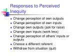 responses to perceived inequity