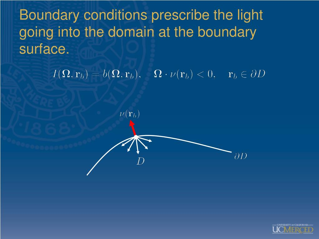 Boundary conditions prescribe the light going into the domain at the boundary surface.