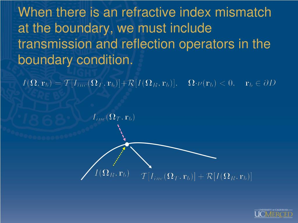 When there is an refractive index mismatch at the boundary, we must include transmission and reflection operators in the boundary condition.