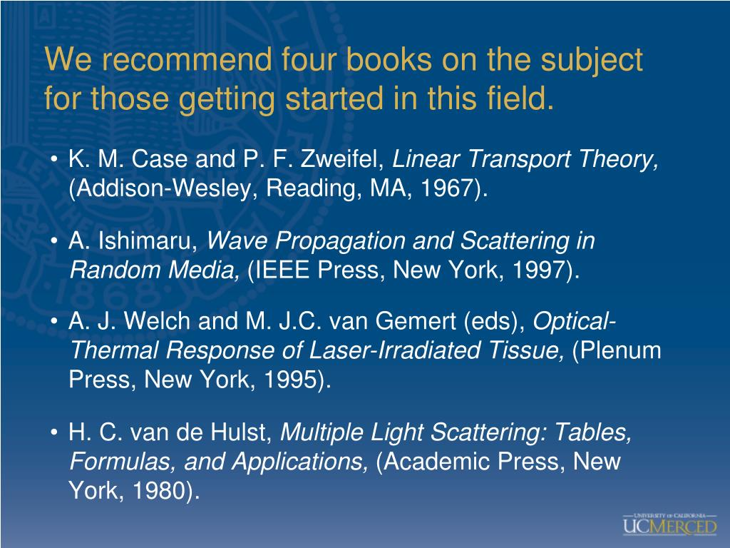 We recommend four books on the subject for those getting started in this field.