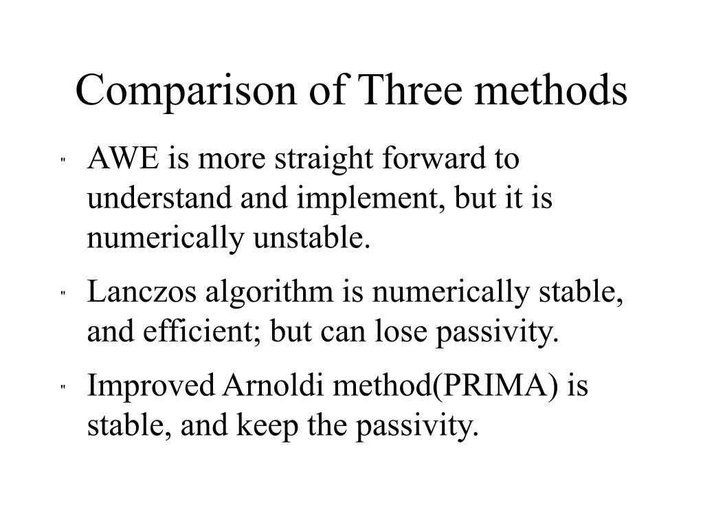 Comparison of Three methods