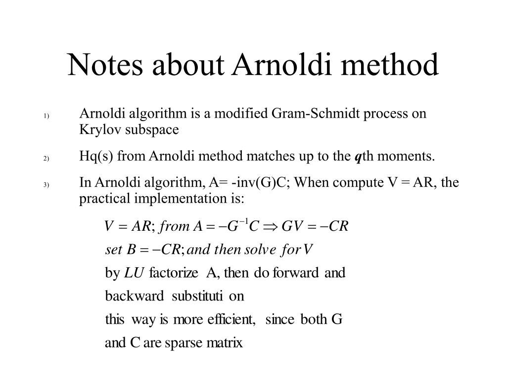 Notes about Arnoldi method