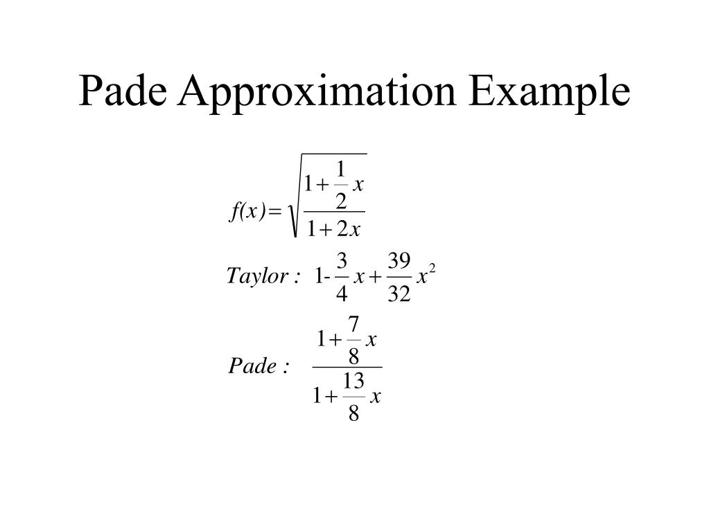 Pade Approximation Example