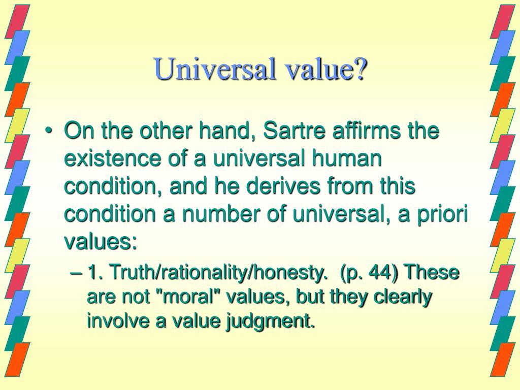 Universal value?