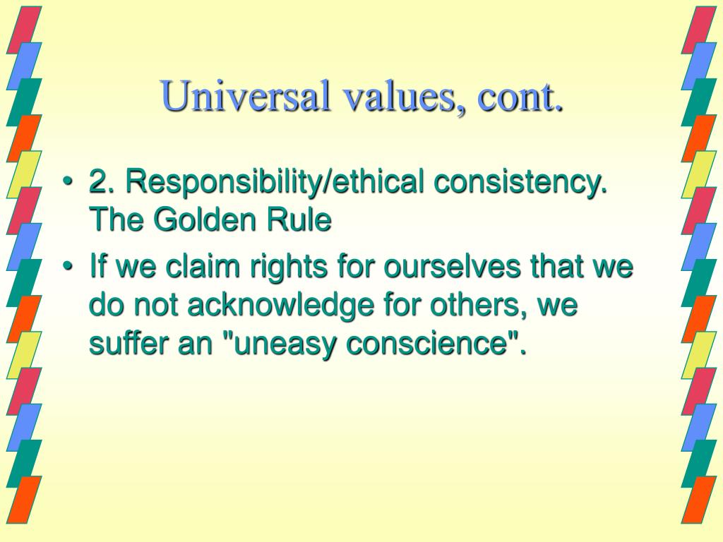 Universal values, cont.