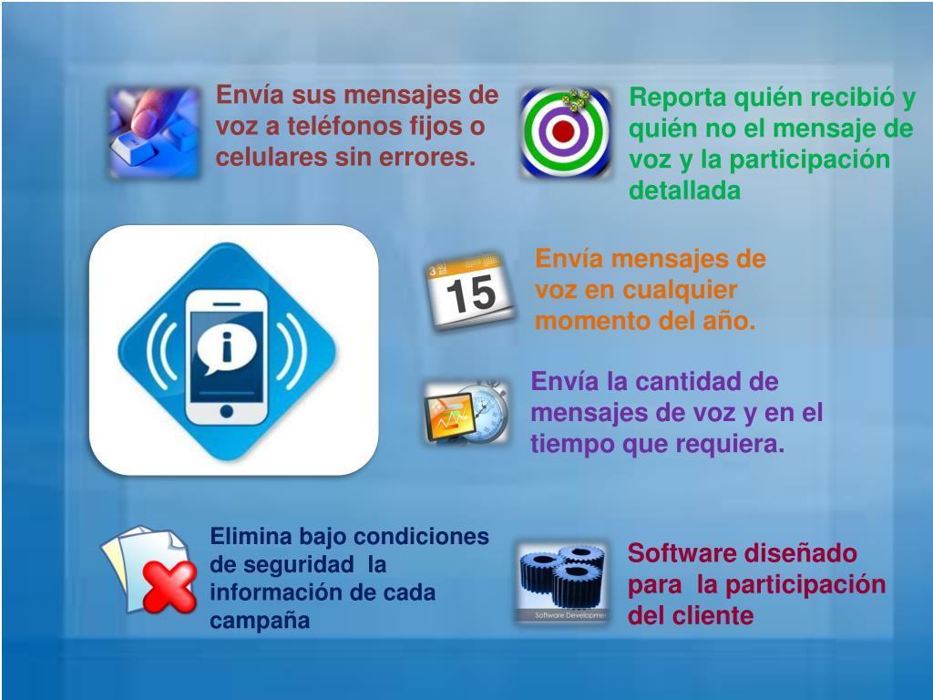 Envía sus mensajes de voz a teléfonos fijos o celulares sin errores.