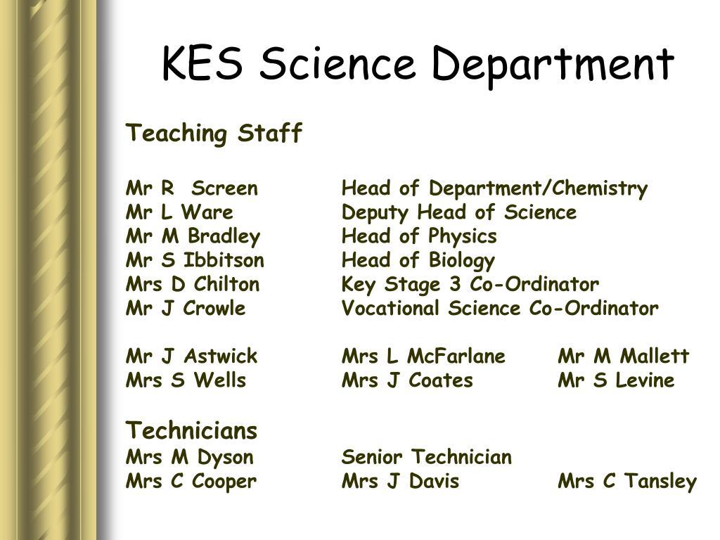 KES Science Department