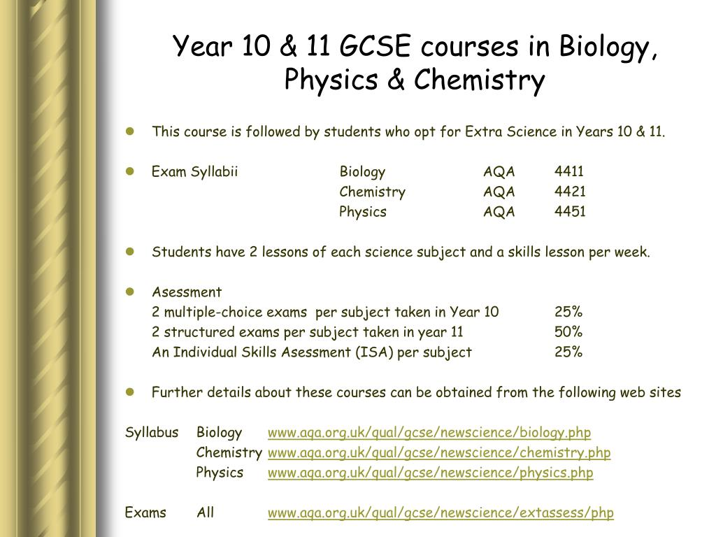 Year 10 & 11 GCSE courses in Biology, Physics & Chemistry