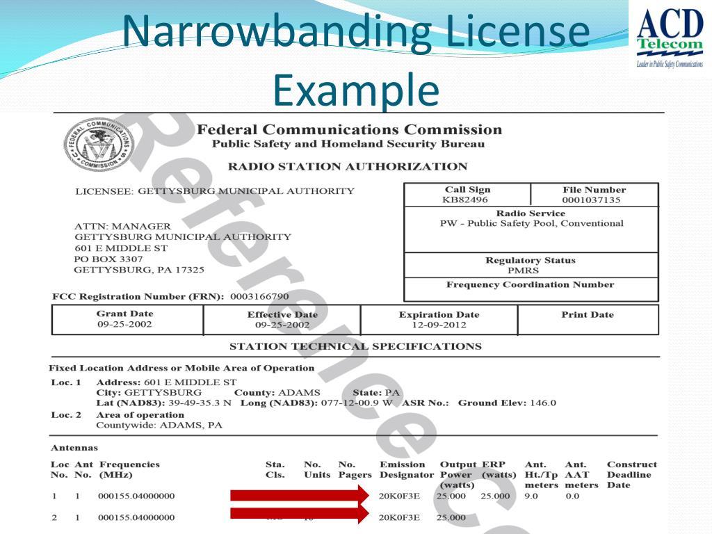 Narrowbanding License Example