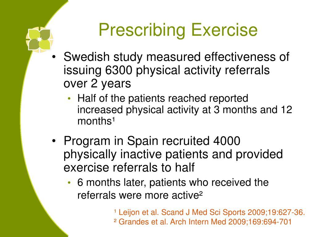 Prescribing Exercise