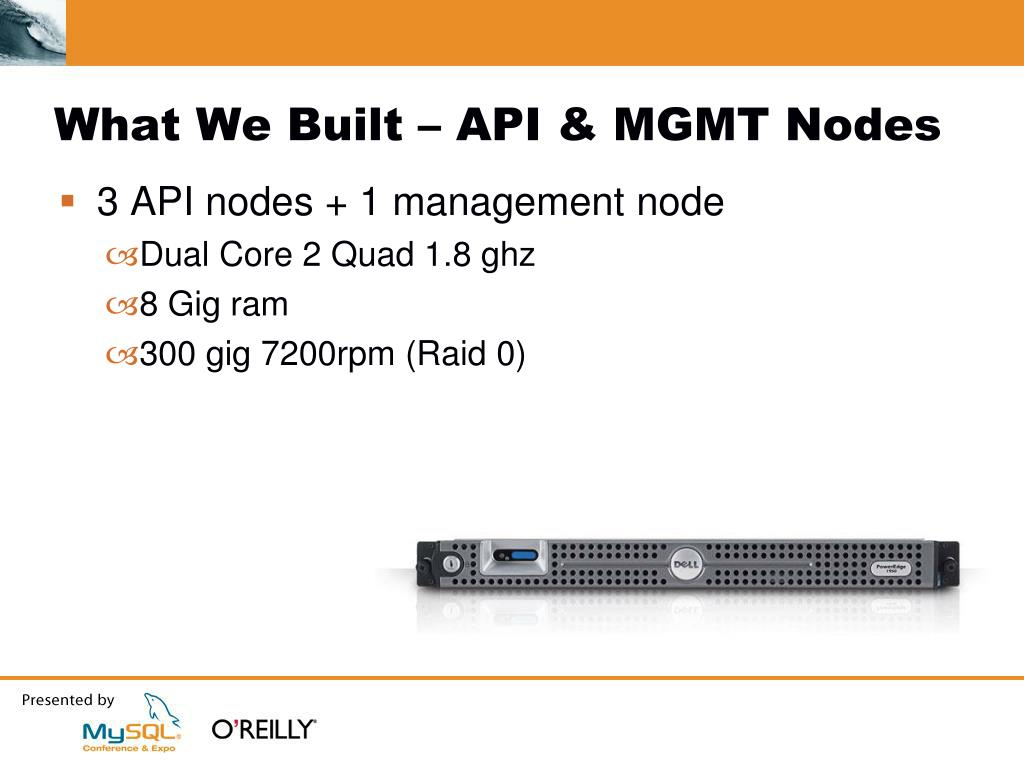 What We Built – API & MGMT Nodes