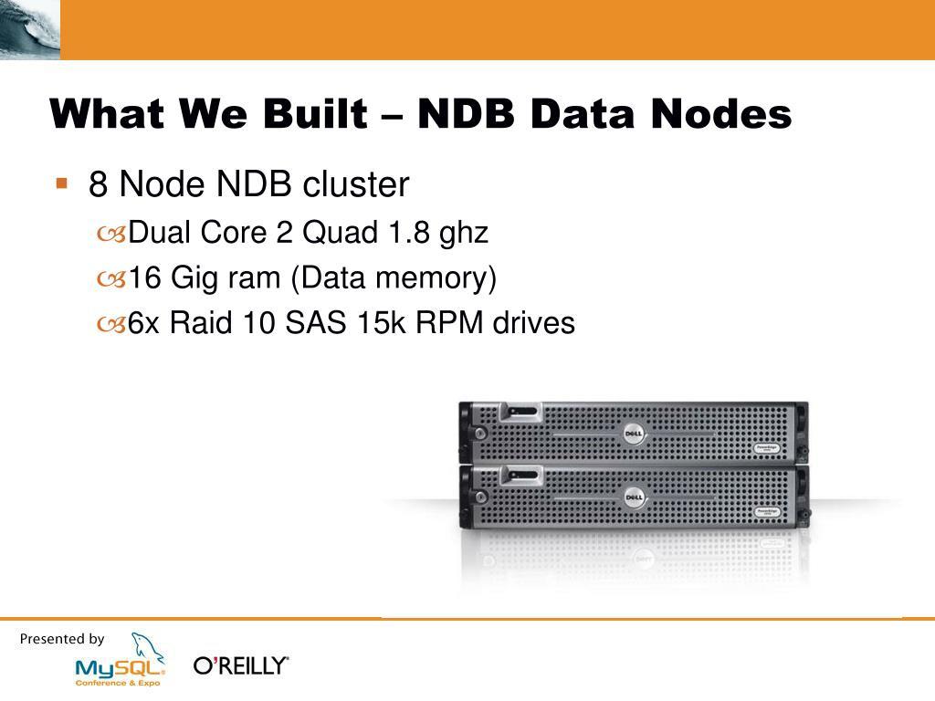 What We Built – NDB Data Nodes