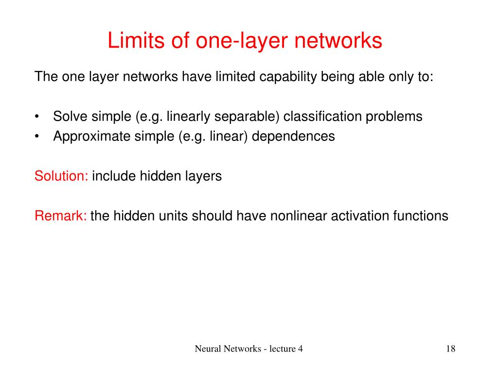 Limits of one-layer networks