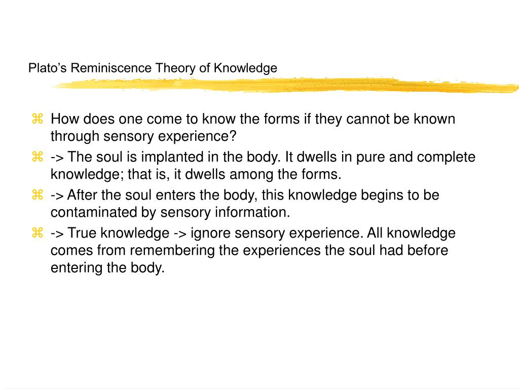 Plato's Reminiscence Theory of Knowledge