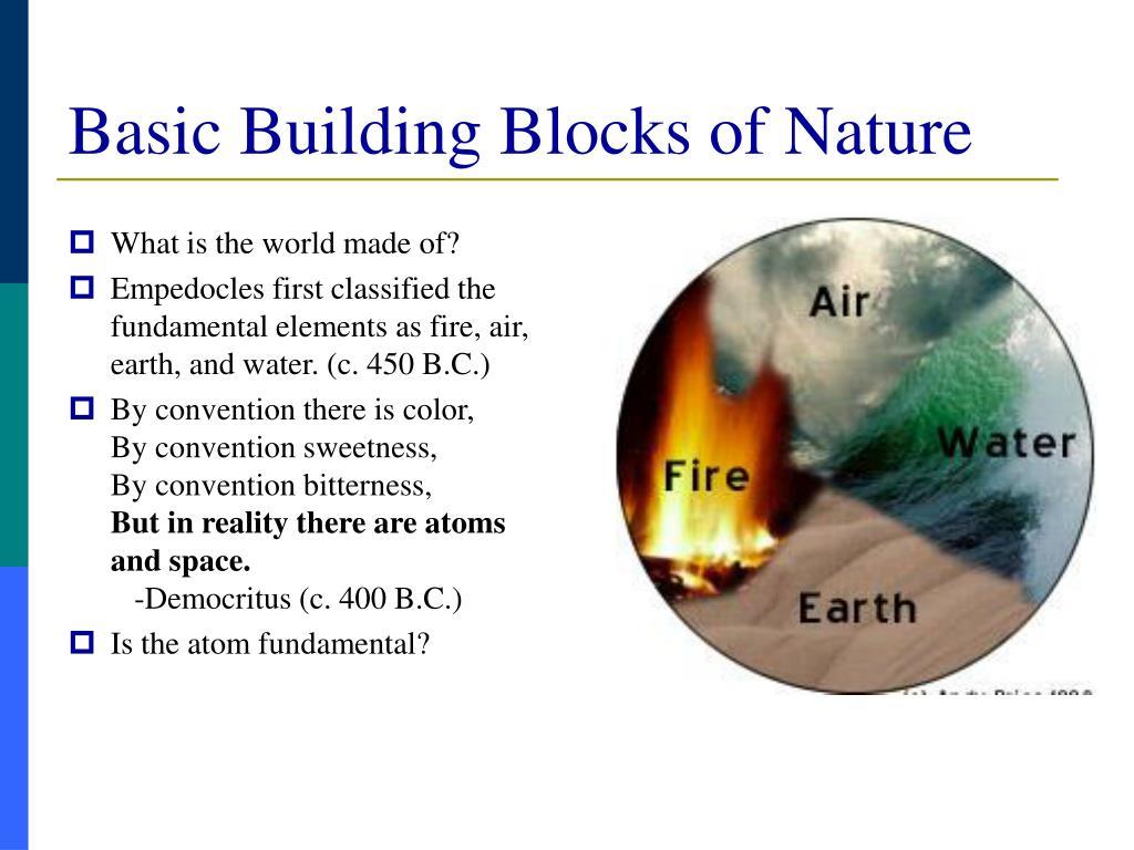 Basic Building Blocks of Nature