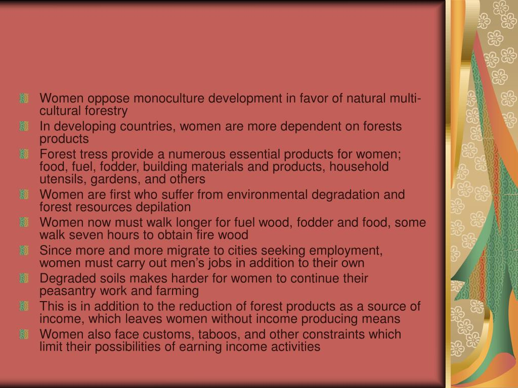 Women oppose monoculture development in favor of natural multi-cultural forestry