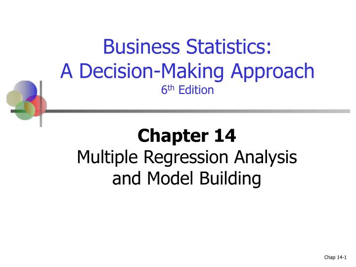 Chapter 14 multiple regression analysis and model building