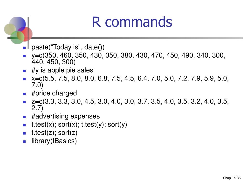 R commands
