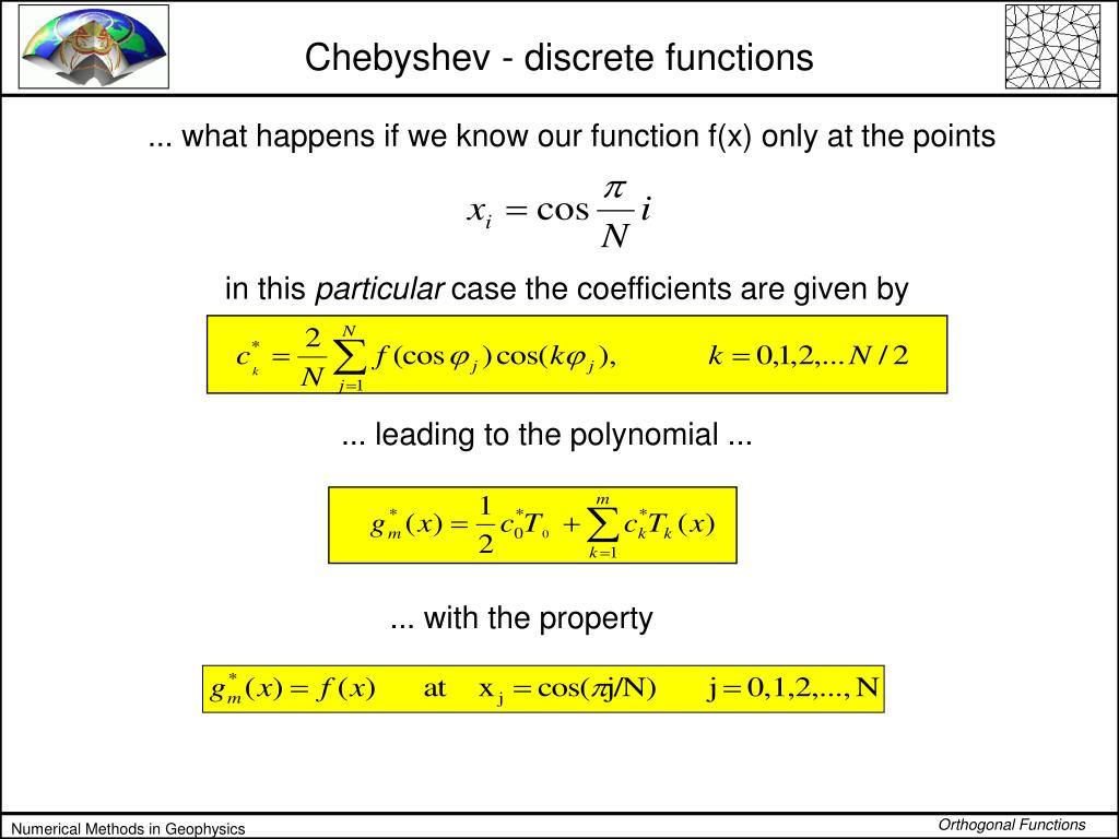 Chebyshev - discrete functions