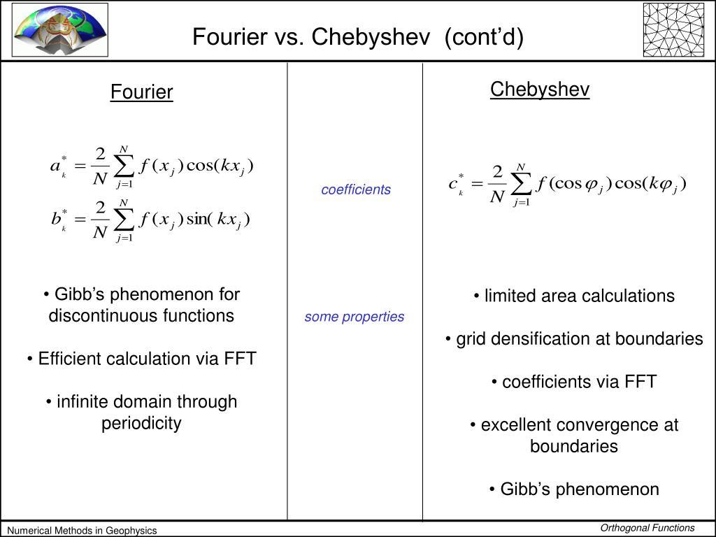 Fourier vs. Chebyshev  (cont'd)