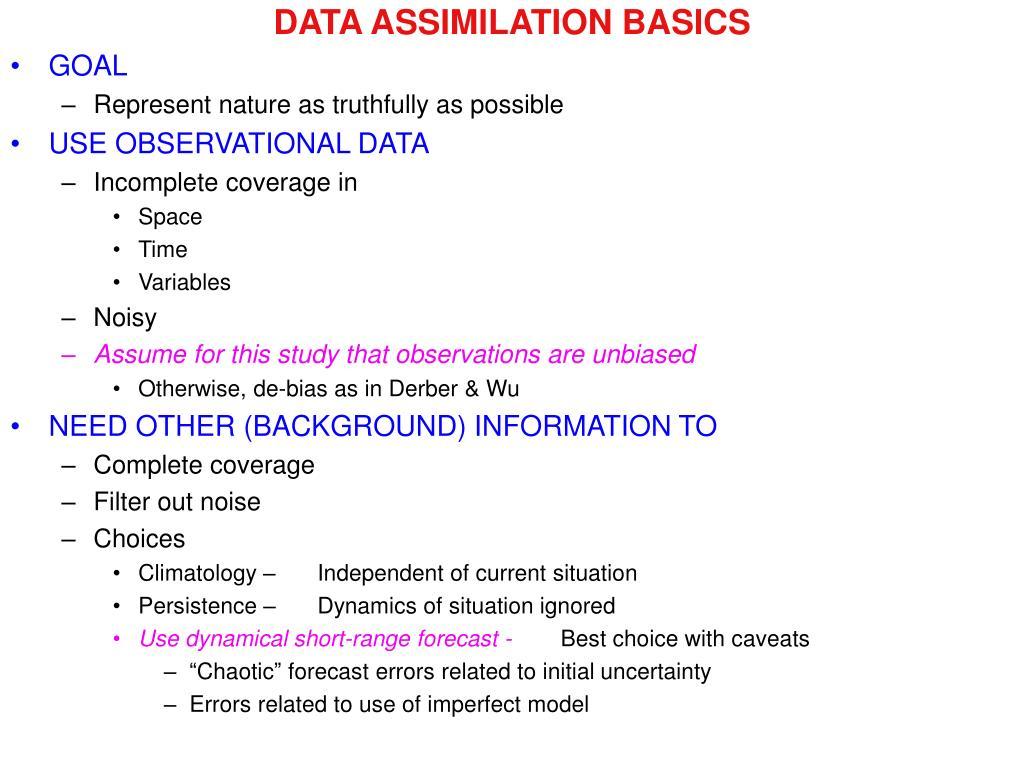 DATA ASSIMILATION BASICS