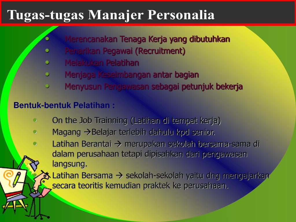 Tugas-tugas Manajer Personalia