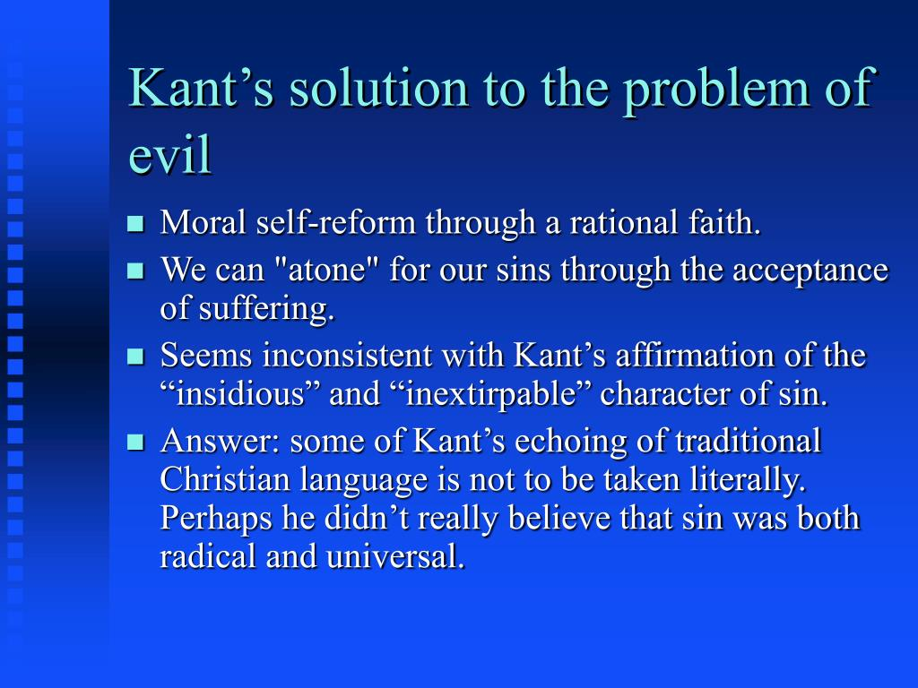 Kant's solution to the problem of evil