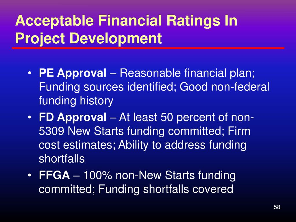 Acceptable Financial Ratings In Project Development