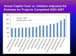 actual capital cost vs inflation adjusted aa estimate for projects completed 2003 2007