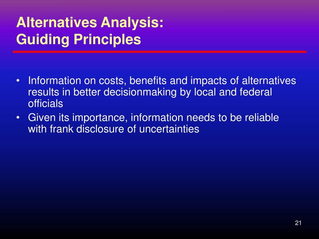 Alternatives Analysis: