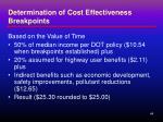 determination of cost effectiveness breakpoints