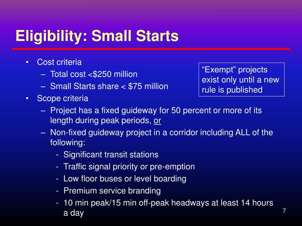 Eligibility: Small Starts