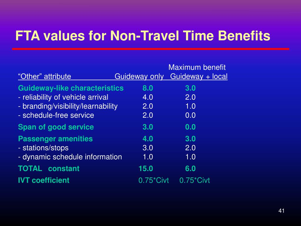 FTA values for Non-Travel Time Benefits
