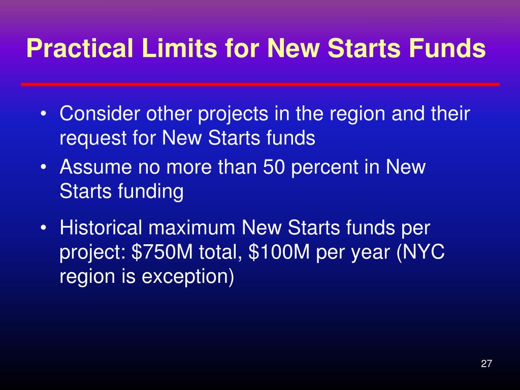 Practical Limits for New Starts Funds