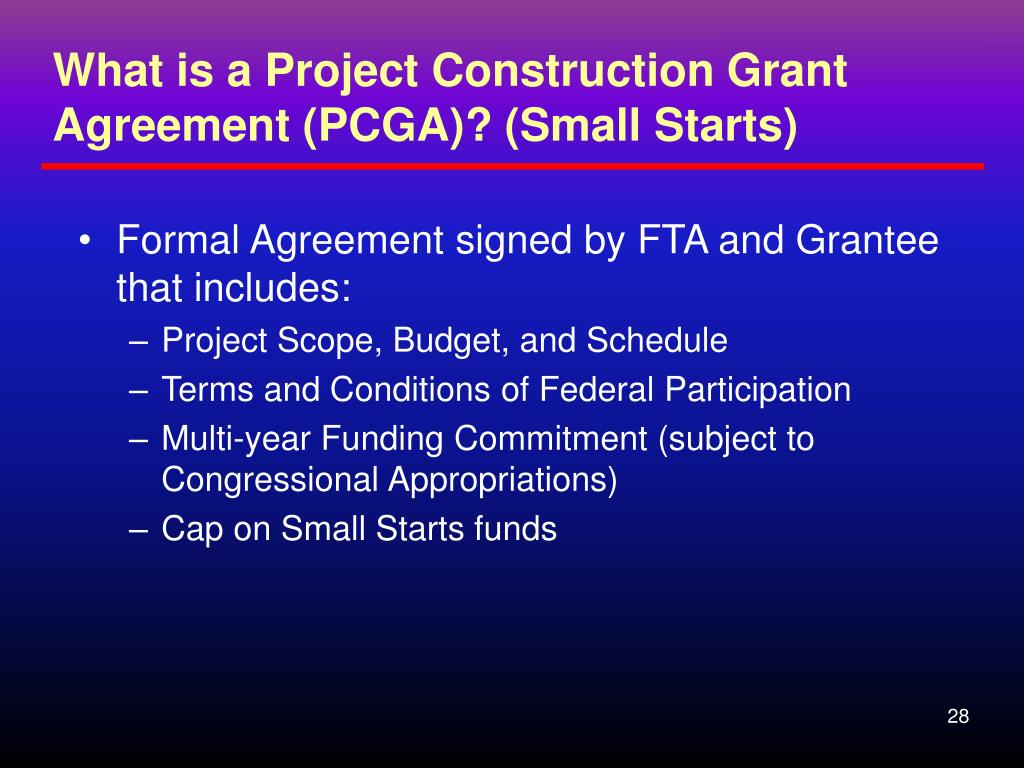 What is a Project Construction Grant Agreement (PCGA)? (Small Starts)