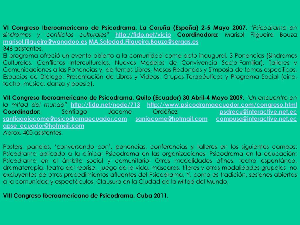 VI Congreso Iberoamericano de Psicodrama. La Coruña (España) 2-5 Mayo 2007.