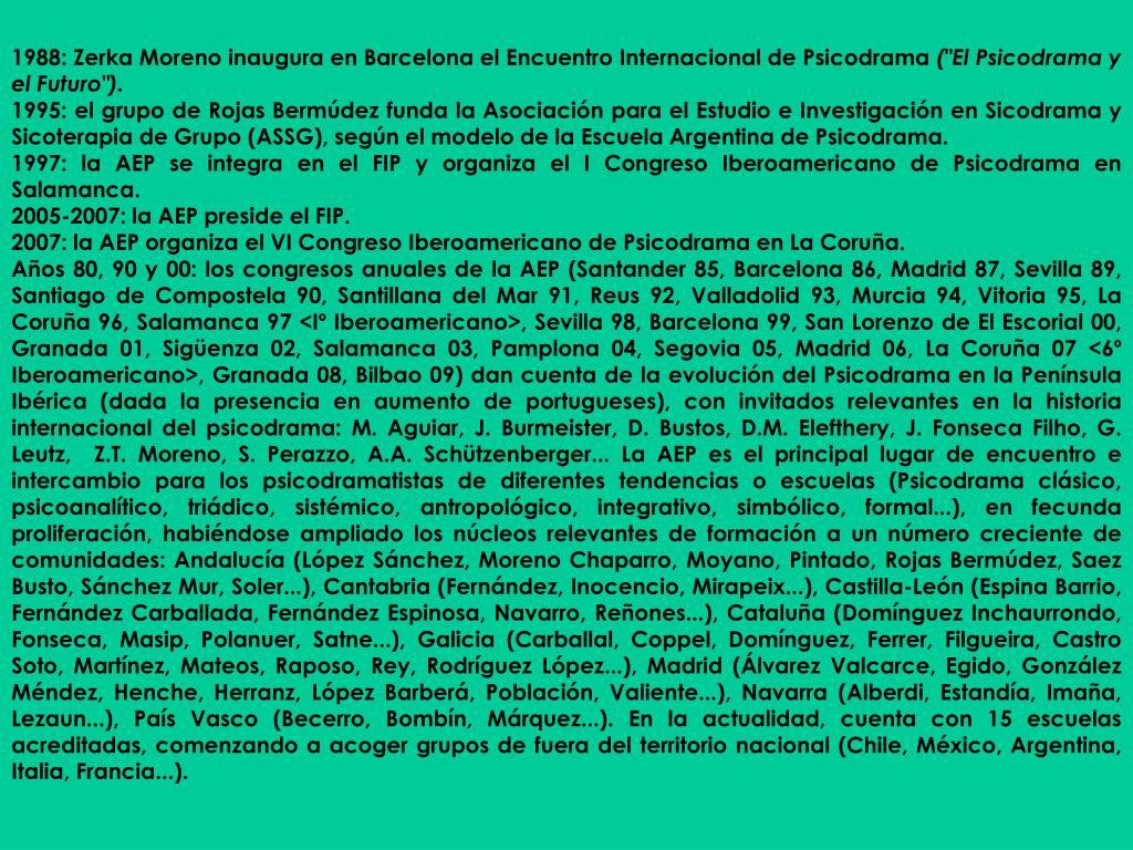 1988: Zerka Moreno inaugura en Barcelona el Encuentro Internacional de Psicodrama