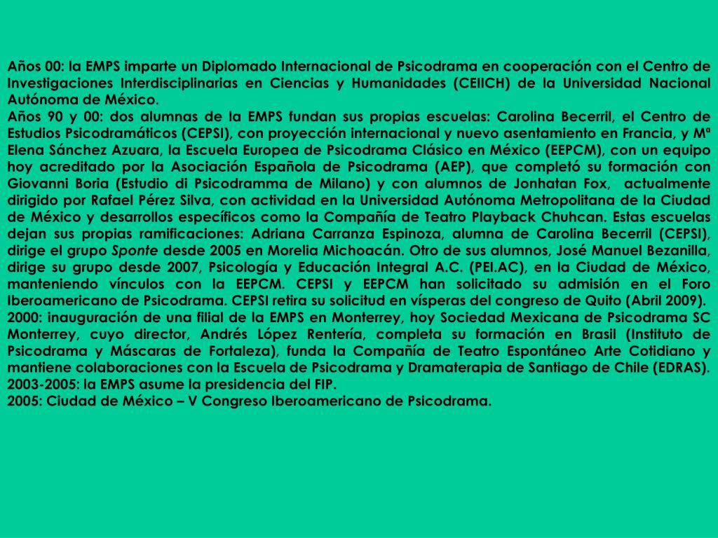 Años 00: la EMPS imparte un Diplomado Internacional de Psicodrama en cooperación con el Centro de Investigaciones Interdisciplinarias en Ciencias y Humanidades (CEIICH) de la Universidad Nacional Autónoma de México.
