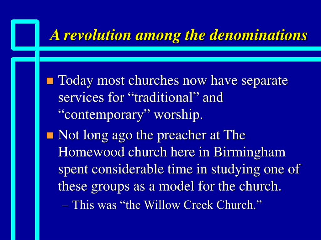 A revolution among the denominations