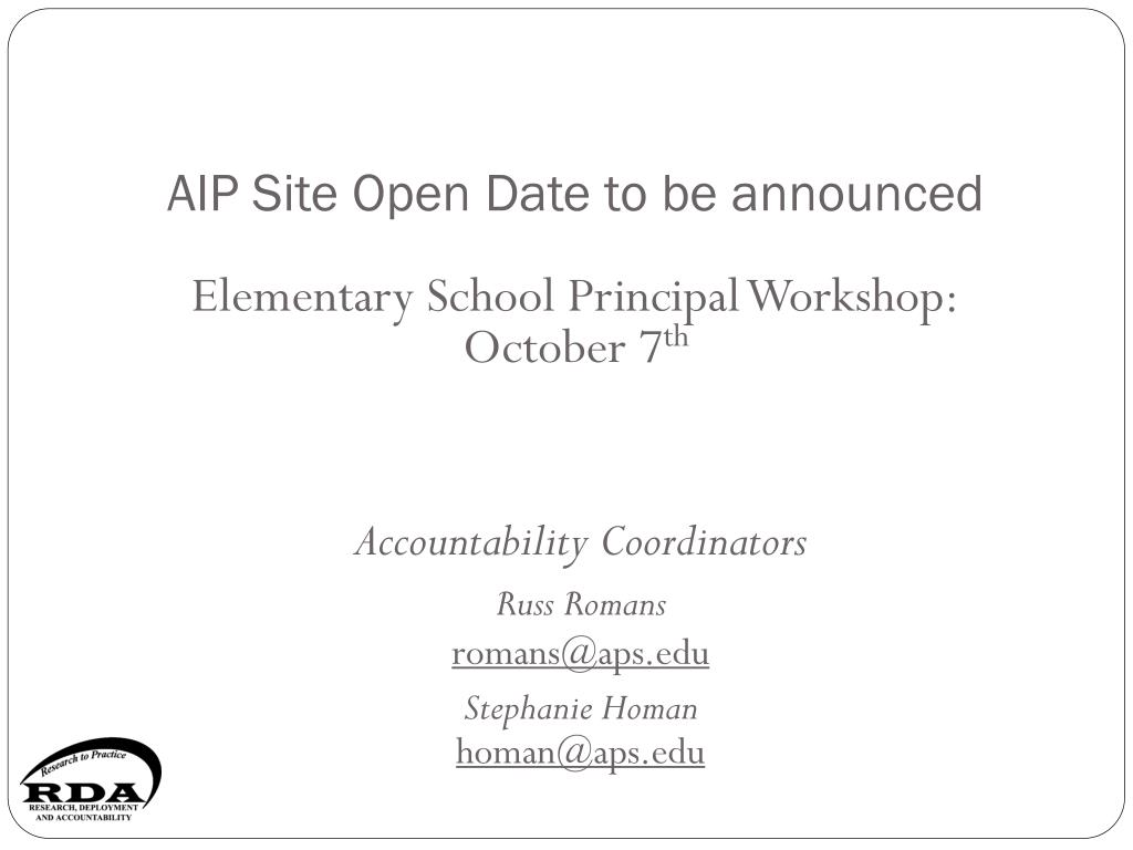 AIP Site Open Date to be announced