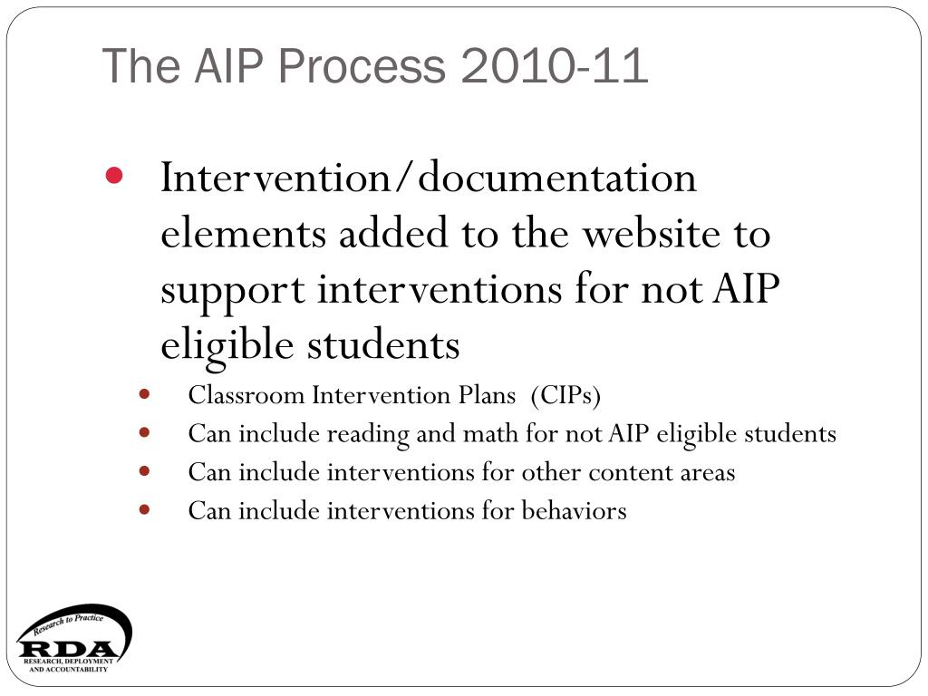 The AIP Process 2010-11