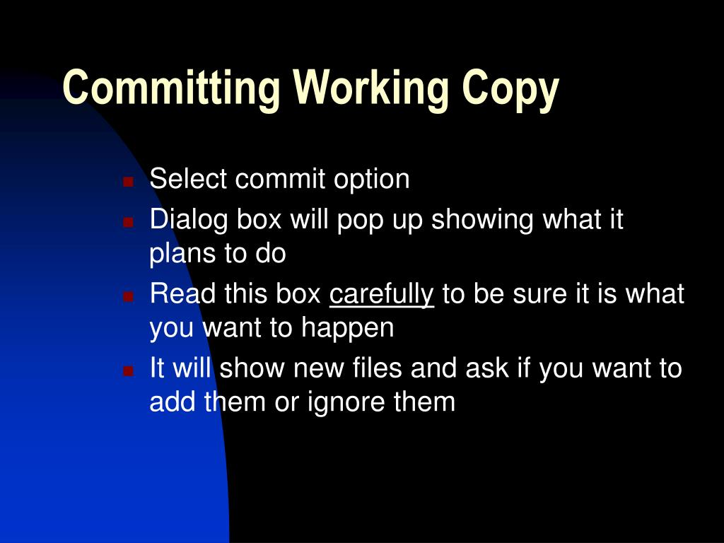 Committing Working Copy